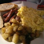 All American Breakfast with maple sausage and scrambled eggs
