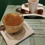 Tiramisu cake and espresso arrived with chocolate ball