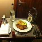 In-room dining: Fish and Chips