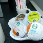 Your in-room Keurig is stocked with coffees, tea, and hot chocolate