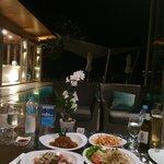 dinner at the pool side restaurant