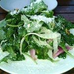 A great salad big enough to share. Baby Kale, Fennel, Pine Nuts, Lemon Vinaigrette.