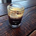 An iced espresso shot
