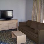 Large TV and Couch for Viewing