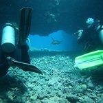 Turtle and divers, Paniau