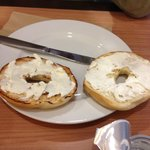 bagel and cream cheese (one of the options for compl. breakfast)