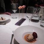 Aubergine blanche caramélisée, Crème glacée au pain d'épices, Caramel aux épices