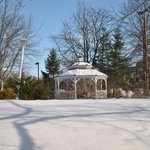 A lovely gazebo graces the grounds