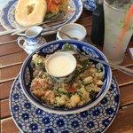 delicious chick pea salad and humus bagel