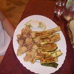 calamari fritti con zucchine grigliate
