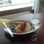 Room service - Brie and lavosh. Yum!