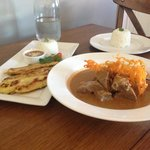 Yum yum! Chicken satay entree and beef massaman main with rice