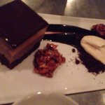 chocolate peanut butter mousse cake with honeyed peanuts and salted caramel cream, $9