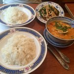 Chicken red curry with coconut and chicken with basil and red pepper! So yummy! So affordable to