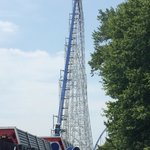 Millennium Force, 310 foot, first hill.  Great riding at night.