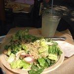 Yummy salad and lemonade on a beautiful July afternoon