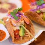 Grilled tiger prawns tacos