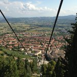 View down to Gubbio on the ride up on the Funivia