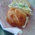 delicious avocado burrito on a croissant