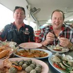 Me and my friend with seafood