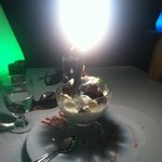 Birthday dessert with sparkler