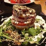 Goat cheese, apple, tomato salad with yogurt and honey dressing