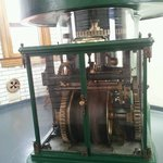The top of the clockwork underneath the liquid mercury zerk upon which the actual lighthouse len