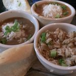 A taste of New Orleans at the Royal House Oyster Bar.  3 bowls of awesomeness!!