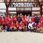Serbian team infront of Novotel