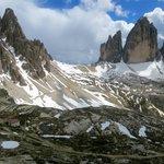 Tre Cima de Lavarado and refugio Locatelli, July 14