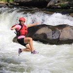 Jumping into the rapid at Bull Sluice