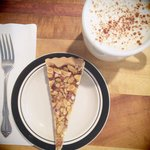 Salted nut tart and chai tea.