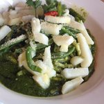 Pasta with pesto and potato