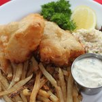 Fresh French beer battered Haddock and Frites