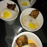 funky grits with fried quail egg