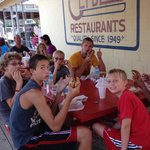 Clyde's keeps the vacation atmosphere whether you are coming or going over the bridge! Great fam