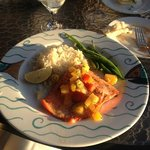 Lummi Island salmon with mango salsa and basmati rice
