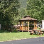 Gazebo, picnic tables and lawn swings