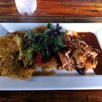 Roasted BBQ Pork Loin with fried plantains
