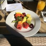 Fruit plate which is part of the breakfast basket.