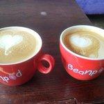 Beautiful lattes at the Beanpod!