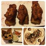 Clockwise from top: pollo en platano, octopus carpacio, and chifrijo