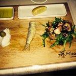 Antipasto freddo polipo marinato e baccalà mantecato