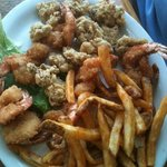 Shrimp and fried oyster plate.