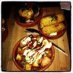 Patatas bravas, blue cheese croquettes, Shiraz vinegar mushrooms