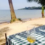 Rarely gets better than this. Cold beer hot day, waves gently lapping the shore, watching pied k