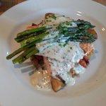 Salmon, asparagus, over hashers