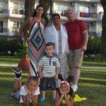 Family photo outside Atlantique
