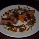 Roasted Jurgielewicz Duck with barley, butternut squash and cranberry. Absolutely AMAZING!