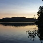 Sun setting, view from campsite at Pillsbury State Park NH